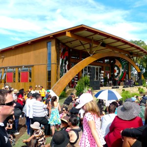 Tuhoe Meeting House, NZ's most advanced sustainable building. Exterior Oil colour 'Teak'.